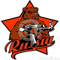Russian bear with kalashnikov assault rifle