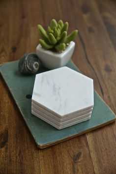 Marble Hexagon Coasters by GeometrikosDesign on Etsy