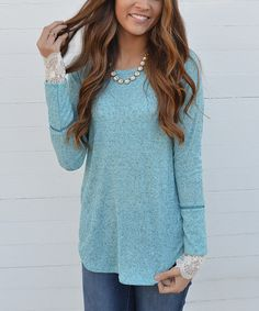 Look at this Bella Mikol Designs Jade Heather Lace-Sleeve Tunic on #zulily today!