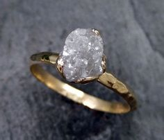 Raw Diamond Engagement Ring Rough Uncut Diamond Solitaire Recycled 14k gold Conflict Free Diamond Wedding Promise