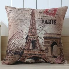 Amazon.com - LINKWELL 45x45cm France Paris Eiffel Tower Linen Pillow Case Cushion Cover Louvre Museum Triumphal Arch - Throw Pillow Covers