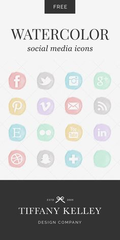 Enjoy these free watercolor social media icons! Six color options to choose from.  #tiffanykelleydesign #graphicdesigner #watercolor #socialmedia #icons #facebook #twitter #pinterest #instagram #snapchat #free #download