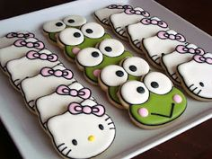 hello kitty and frog cookies (something for the boys) and like OMG! get some yourself some pawtastic adorable cat apparel! Frog Cookies, Iced Cookies, Cute Cookies, Royal Icing Cookies, Yummy Cookies, Cupcake Cookies, Hello Kitty Cookies, Hello Kitty Cake, Hello Kitty Birthday