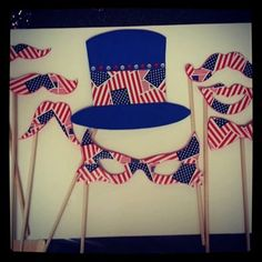 American Flag Photo Booth 50 pack Handlebar by StacheMeIfYouCan, $50.00