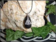 Irish Bog Oak Necklace Pendant with Tibetan Silver Triquetra special gift in an organza bag Pagan Wiccan - New Moon Enterprise  - 1