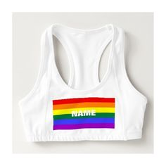 df3edea9a0 LGBT Rainbow Pride Flag Women s Alo Sports Bra ❤ liked on Polyvore  featuring activewear