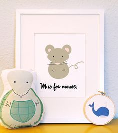M is for mouse woodland animal portrait nursery by feb10design, $10.00