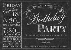 Chalkboard Bistro Menu Invitation - Birthday, Bridal or Wedding Shower, Baby Shower, Any Occasion