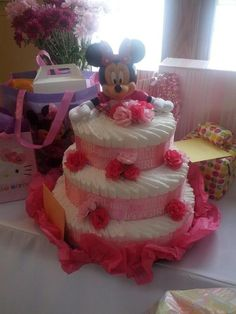 Baby Minnie Mouse diaper cake!