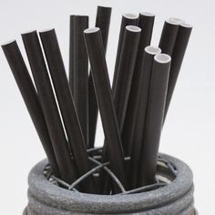 25 Solid Black Paper Straws - Perfect For Parties - Favors--free Editable Diy…
