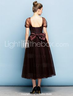 TS Couture® Formal Evening Dress Plus Size / Petite Ball Gown Square Tea-length Tulle with Bow(s) / Sash / Ribbon / Ruching 2017 - $2893.59