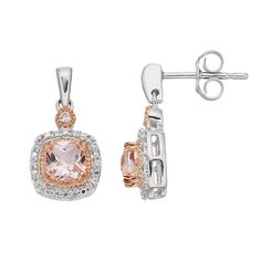 Two Tone Sterling Silver Simulated Morganite & Lab-Created White Sapphire Cushion Halo Stud Earrings, Women's, Pink
