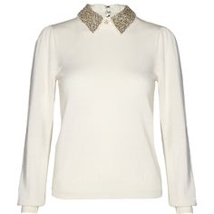 Alice + Olivia Off White Era Encrusted Collar Sweater ($96) ❤ liked on Polyvore featuring tops, sweaters, blouses, shirts, fitted sweater, merino sweater, collar top, off white tops and off white sweater