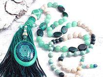edle Quastenkette ✿ Boho ✿ Edelsteine / Ornament
