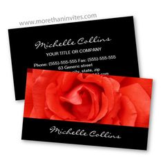 Elegant black business card with beautiful red rose. Maybe for a wedding photographer, wedding planner or florist.