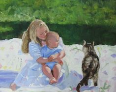 What's up kittycat, painting by artist Kay Crain
