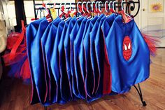 Spiderman party favors-capes for the boys and tutus for the girls....MUST get Kiki on this :)