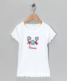 Take a look at this White Crab Personalized Ruffle Tee - Infant, Toddler & Girls by Patty's Collection on #zulily today!