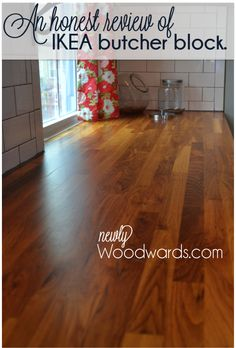 Thinking Ikea butcher block countertops for our eventual kitchen redo. This post is a really helpful, honest review of these lovely and inexpensive countertops!
