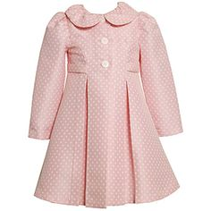 Pink dot coat w/ matching dress. // Just put this outfit in the keepsake / save bin yesterday!