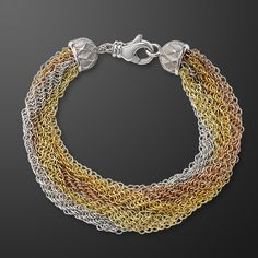 Whiting & Davis - Sunset Bracelet in sterling silver fine mesh and 18-karat rose, yellow and green gold vermeil.