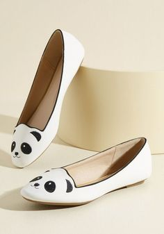 Stroke of Genus Flat in White. You're a unique fashionista with an ardent appreciation for all creatures, so its a no-brainer that you're sporting these bold panda flats to the museum! #gold #prom #modcloth