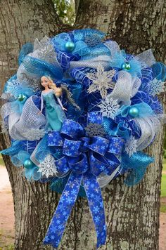 Sparkling #Frozen Mesh #Wreath featuring Elsa the Snow Queen by Seraphical Designs