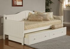 White Wooden Sliding Bed