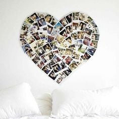 "Elise- I thought of you when I saw this.   Love this simple way to say ""I Love You"" on Valentine's Day! Everyone loves a heart-shaped photo montage, right? This would be a fun bulletin board."