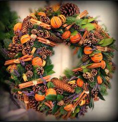 Large Wreath - Mixed Seasonal foliage. Cinnamon, Cones, Lavender, Oranges