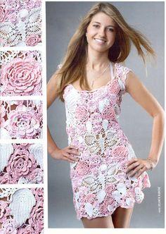Grvestaficos y Crochet: Vestido en crochet ruso bco rosa