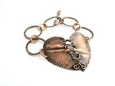 Stitched Heart Copper Metal Bracelet Handmade Metal Jewelry Chain Link Bracelet Sewn Heart via Etsy
