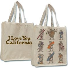 NINE BEARS TOTE Shopper Bag Canvas I Love You California Large Jumbo Beige