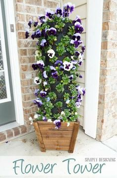 """18. DIY Flower Tower idea (use either a tomato cage lined with garden cloth and filled w/potting soil or stack the flower """"crates"""" together and ziptie/wire - do back/back?)"""