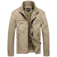 0b98afc3ca3bb Men s Jacket khaki and army green colors Male Overcoat Casual Solid Jacket  AFS JEEP Men s Jacket Cotton Plus Size Men s…