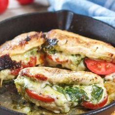 Pesto Mozzarella and Tomato Stuffed Chicken Breasts (with Video) is part of Mozzarella chicken - This amazing Pesto Stuffed Chicken recipe comes together in one skillet and takes only 30 minutes! Stuffed with Pesto, Tomatoes and Mozzarella cheese! Healthy Chicken Recipes, Healthy Dinner Recipes, Low Carb Recipes, Cooking Recipes, Cooking Ideas, Yummy Recipes, Easy Stuffed Chicken Recipes, Vegan Recipes, Recipes With Pesto