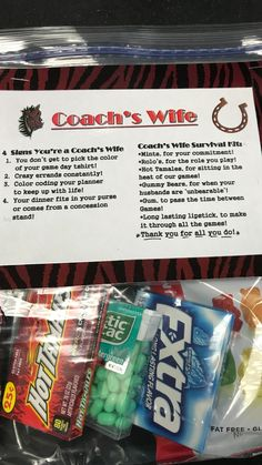 Coach's Wife Survival Kit Softball Coach Gifts, Hockey Gifts, Team Gifts, Gifts For Coaches Football, Cheerleading Gifts, Basketball Gifts, Sports Gifts, Football Coach Wife, Hockey Coach