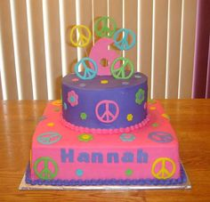 """Peace sign birthday - 8"""" round on a 12"""" square, iced in buttercream, with fondant accents. I wish there were peace sign cutters! Thanks to melindabl1 for inspiration."""