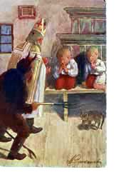 In Czechoslovakia, Saint Nicholas walks along the streets of cities and towns, accompanied by the Angel of Good and the Devil, representing evil. Dressed in costume, they stop children and ask them if they were good during the year. Children usually say yes and are given treats by the Angel. Extract of text and image from behind a door in an online Advent Calendar