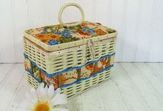 Vintage Off White Wicker & Floral Fabric Hand Bag Size Sewing Basket - Retro Colorful Box with Woven Trim - Satin Lined Wooden HandBag $14.00 by DivineOrders