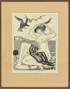 "JØRLEIF UTHAUG ØRLANDET 1911 - OSLO 1990  ""Sjøfuglene og piken"" 1958 Litografi, 16/20. 46x35 cm Signert og datert nede til høyre: Jørleif Uthaug -1958"