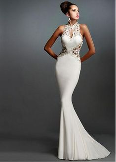 Stunning Tulle & Stretch Satin High Collar Neckline Mermaid Evening Dresses With Lace Appliques