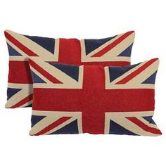 """Union Jack 2-Pack Toss Pillows - Red -13""""x21"""""""
