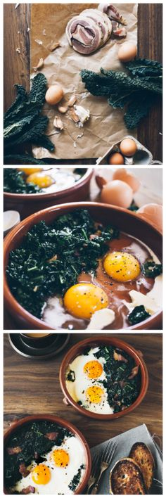 Recipe : Pancetta & Kale Baked Eggs ..... Ingredients 1/2 bunch of kale 4 cloves of garlic Pancetta 4 eggs 2 table spoons of half and half butter fresh ground pepper ....... Kur ♥