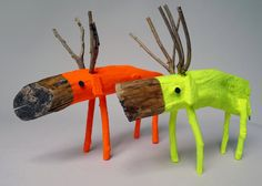 Neon Yellow small Wooden Deer by CocoetPompon on Etsy