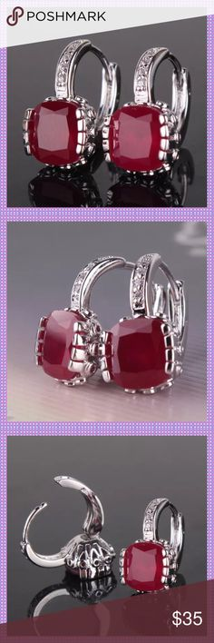 Princess Cut Ruby Huggable Pierced Earrings STUNNING Princess Cut Ruby Pierced Huggable Hoop Earrings, set in an 18K White Gold Filled Setting! Absolutely gorgeous, dressed up or down. Boutique Jewelry Earrings