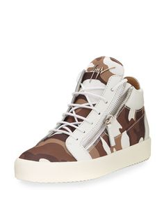 Men\'s+Camouflage+Canvas+Mid-Top+Sneaker,+White/Brown+by+Giuseppe+Zanotti+at+Neiman+Marcus.