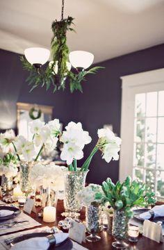 Holiday Table Decor - mercury glass, amaryllis