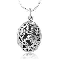925 Sterling Silver Open Filigree Floral Design Oval Shaped Locket Pendant Necklace, 18 inches