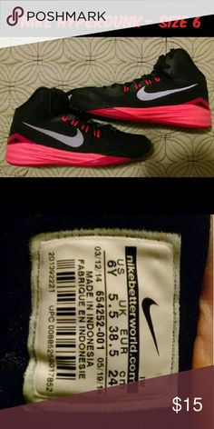 Nike Hyperdunk basketball sneakers Nice used condition.  Small wear spot at top of the high-top. Nike Shoes Sneakers